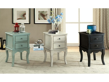 Furniture of America Side Table, Antique Teal CM-AC161TL