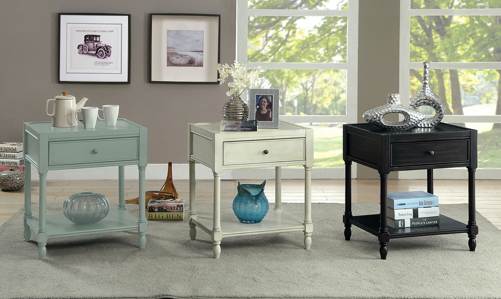 Furniture Of America Side Table, Antique White CM AC162WH