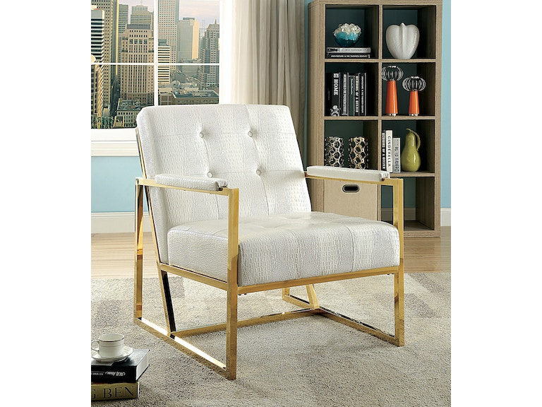 Furniture Of America Metal Chair White Gold Cm Ac6262gl Wh