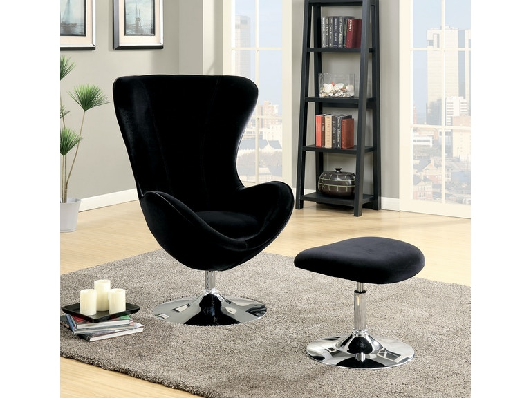furniture of america living room accent chair w ottoman black cm