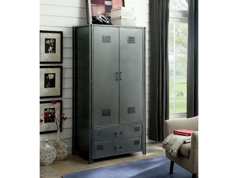 Furniture Of America Bedroom Metal Armoire Cm Ac722 Pk The