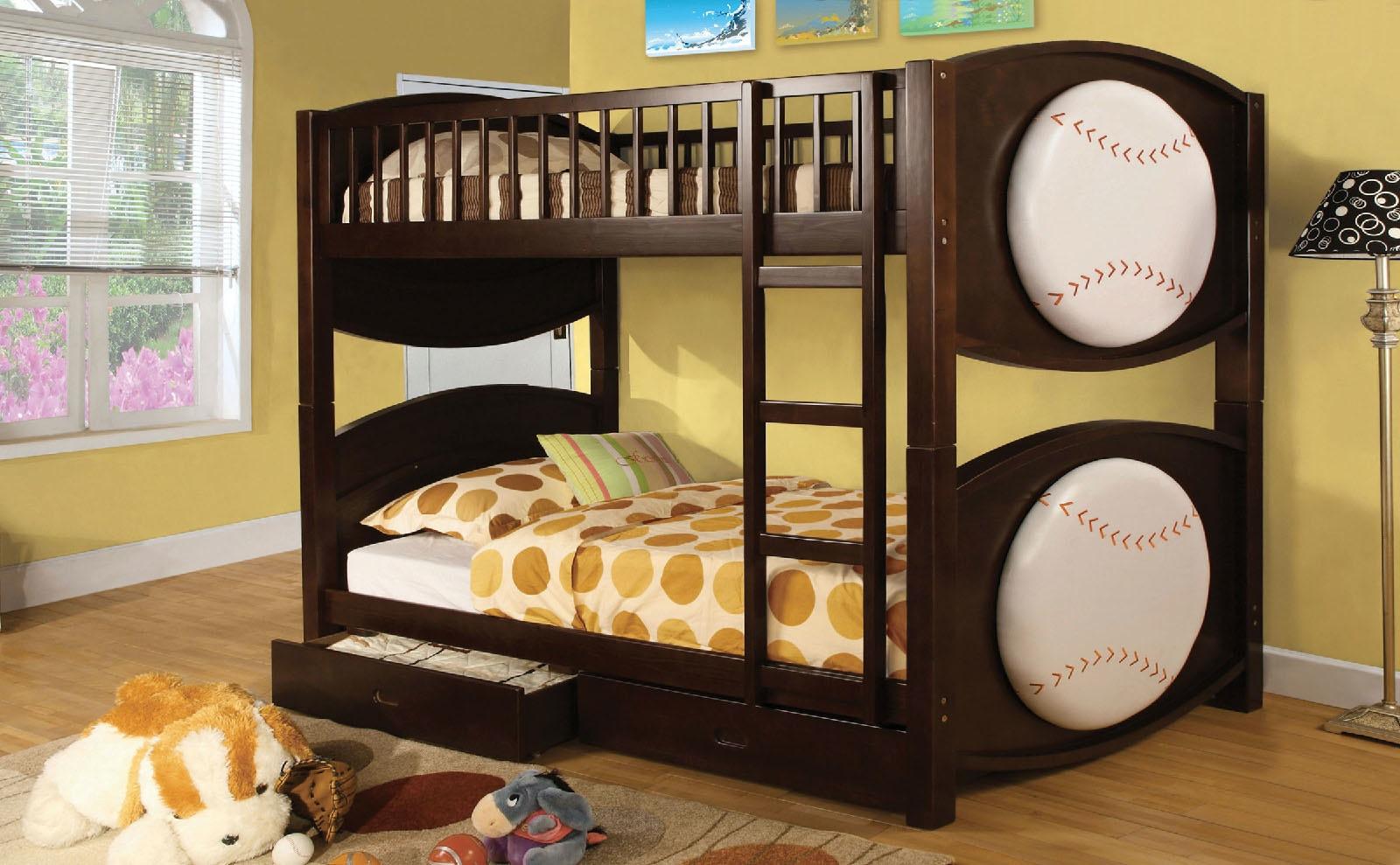 Furniture Of America Bedroom Twin Twin Bunk Bed W 2 Drawers
