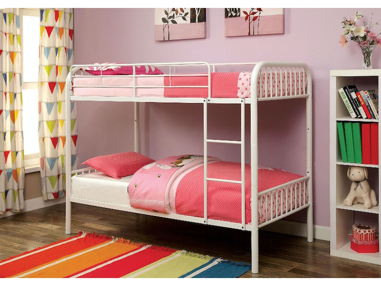 Furniture Of America Metal Twin Bunk Bed White Cm Bk1035wh