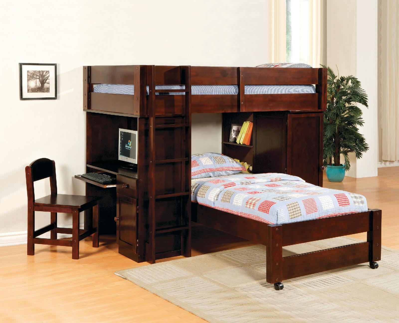 Furniture of America All-In-One Twin/Twin Loft Bed Dark Cherry & Furniture of America Bedroom All-In-One Twin/Twin Loft Bed Dark ...