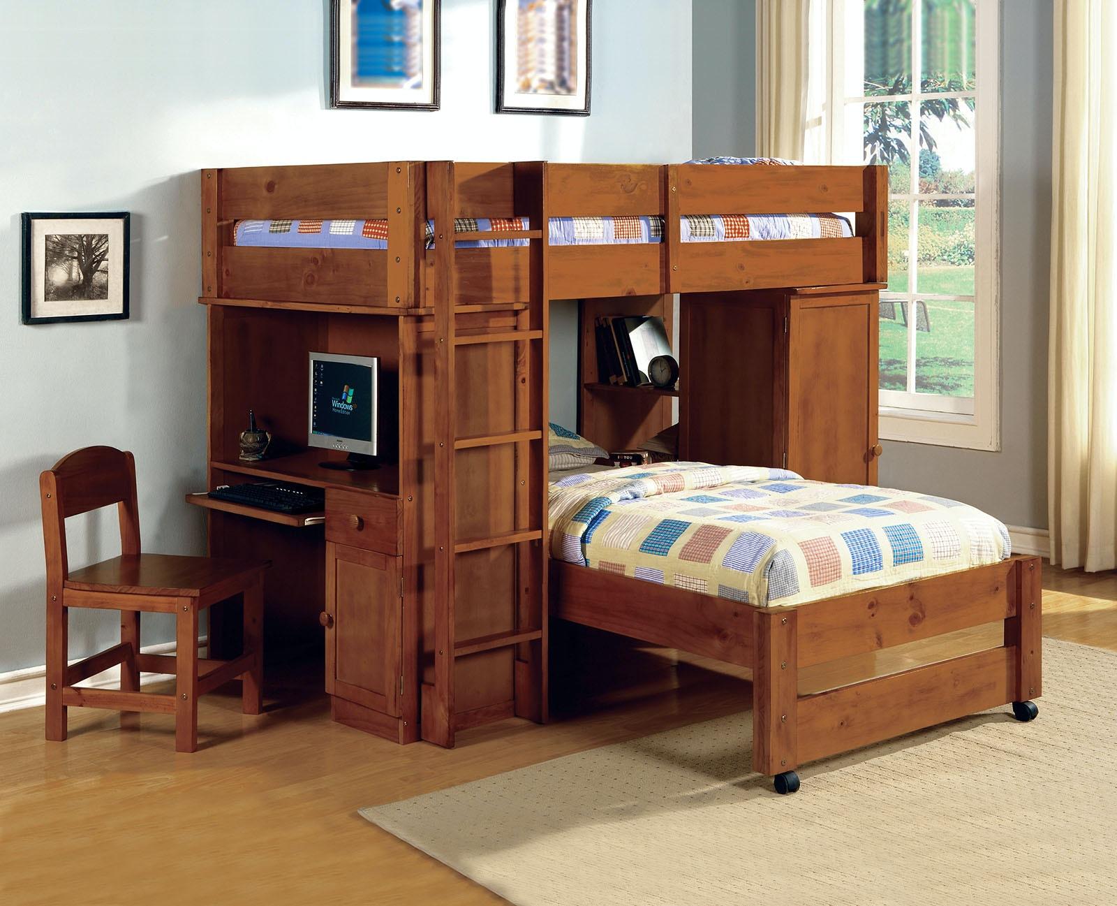 Furniture of America All-In-One Twin/Twin Loft Bed Dark Oak & Furniture of America Bedroom All-In-One Twin/Twin Loft Bed Dark Oak ...