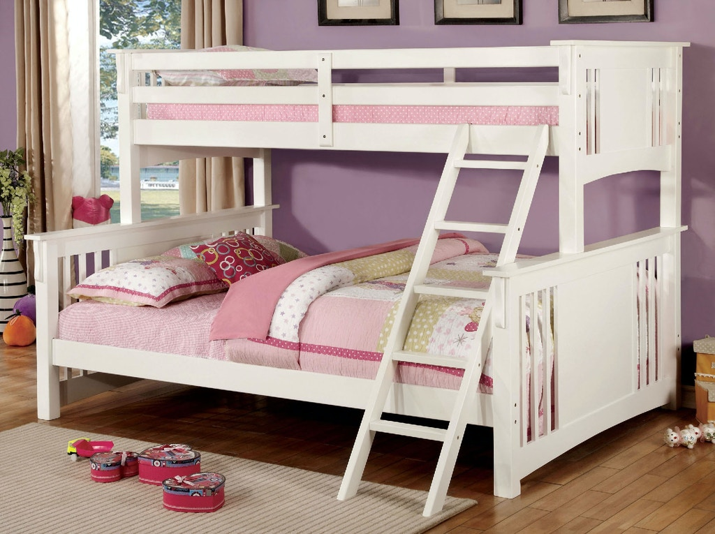 Furniture Of America Bedroom Twin Xl Queen Bunk Bed Rail Slats Ladder Cm Bk604wh 2 The