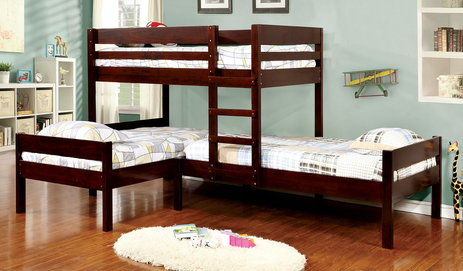 Furniture Of America Bedroom L Shaped Triple Twin Bunk Bed Slats Cm