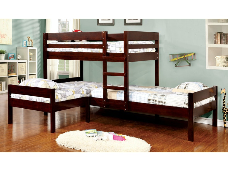 Furniture Of America Bedroom L Shaped Triple Twin Bunk Bed Lower Bed