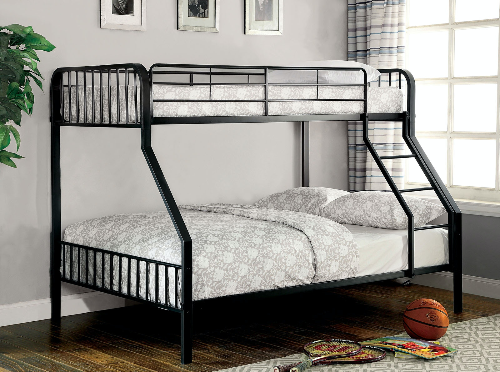 Furniture Of America Bedroom Twin Full Bunk Bed Guardrail Slats Cm