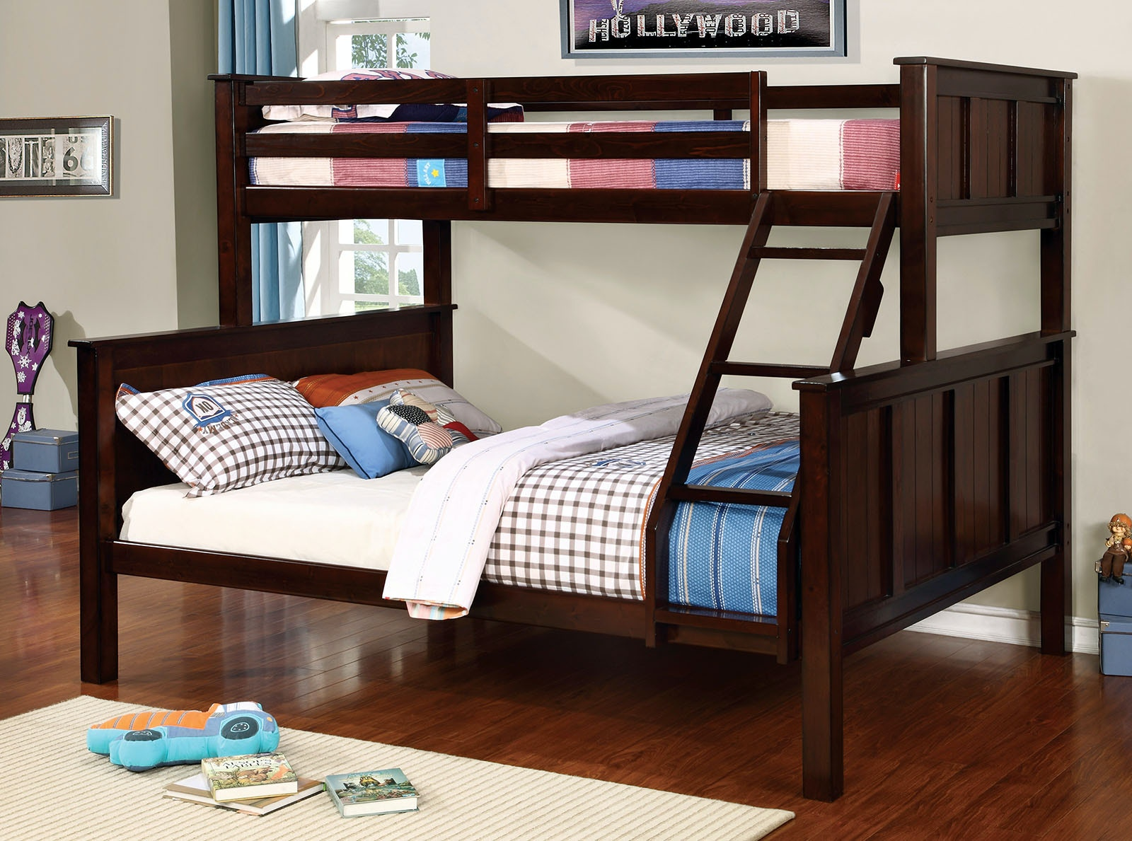 Furniture Of America Bedroom Twin Queen Bunk Bed Top Headboard