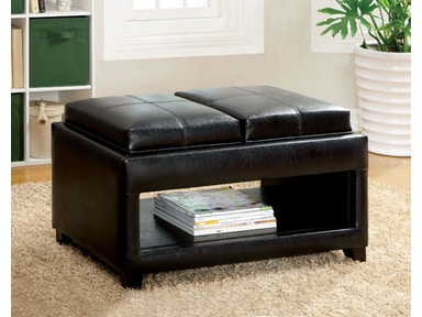 Furniture of America Tray Top Ottoman w/ Open Shelf CM-BN6102