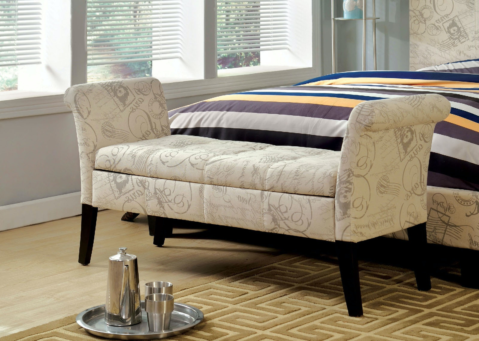 Furniture Of America Living Room Storage Bench, Wt Fabric CM BN6190WT At  The Furniture Mall