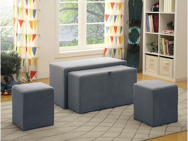 Furniture of America Nesting Bench & Ottoman, Gray Flannetelle (3a) CM-BN6196GY-3A