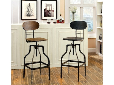 Furniture of America Swivel Bar Stool, Oak CM-BR6233A