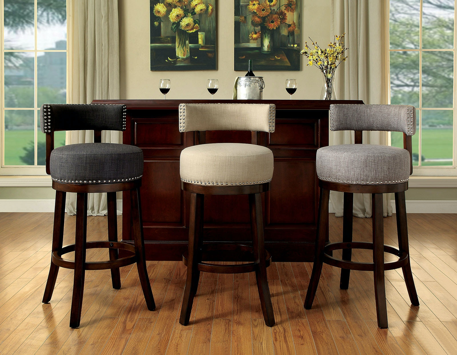 Furniture Of America Dining Room 24 Bar Stool Beige Fabric 2ctn