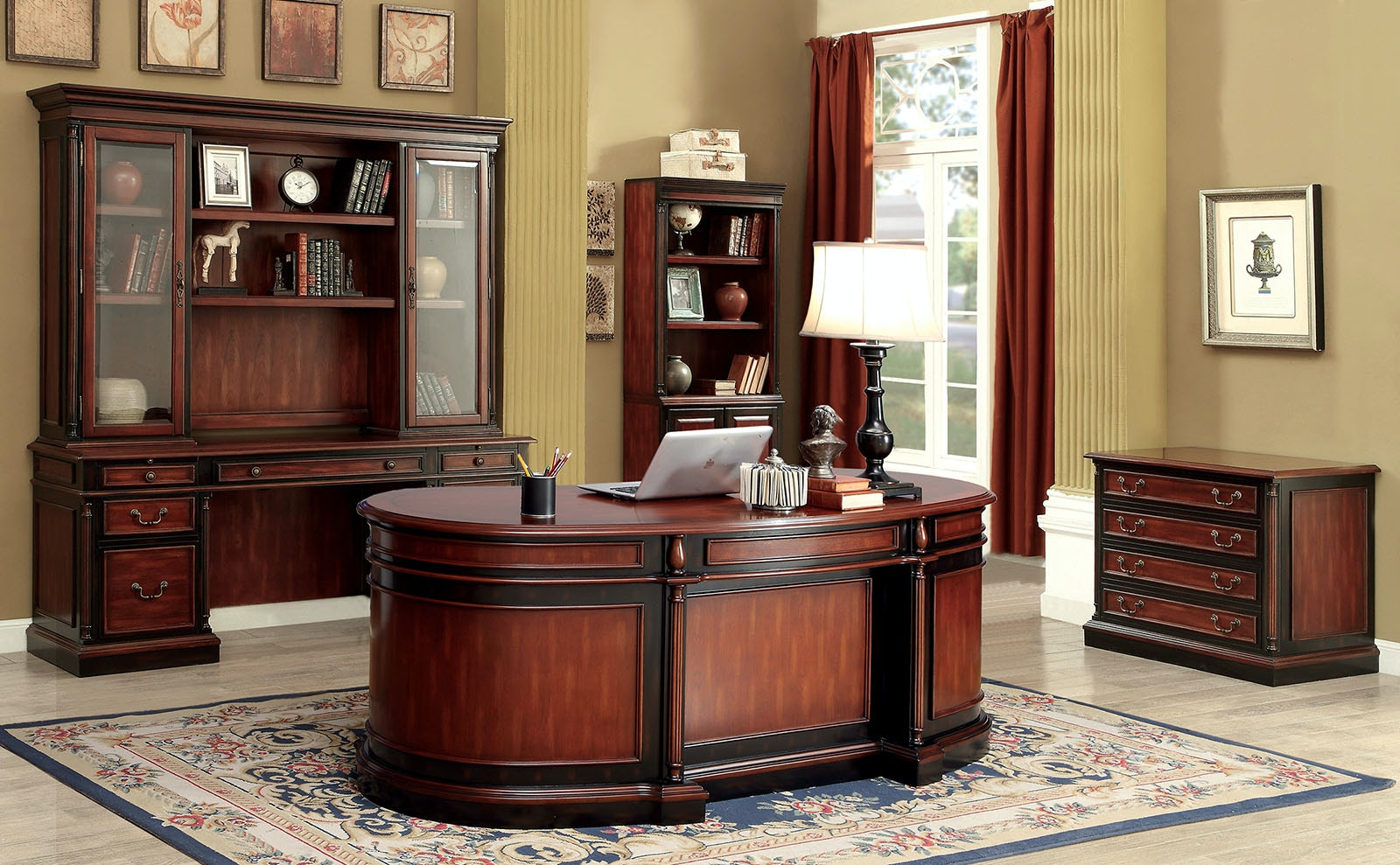 Furniture of America Home Office Oval Office Desk CMDK6255DO The