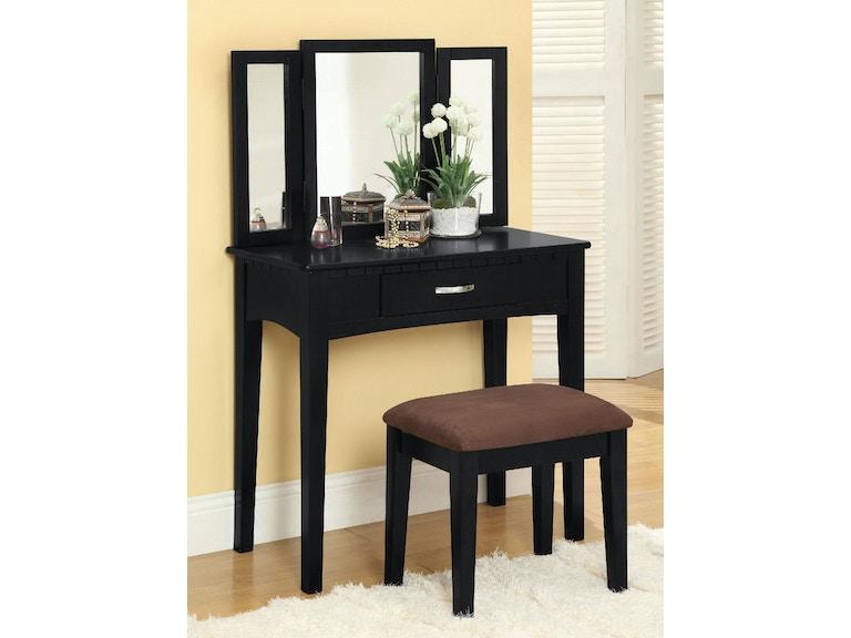 Furniture of America Bedroom Vanity Table w/ Stool, Black