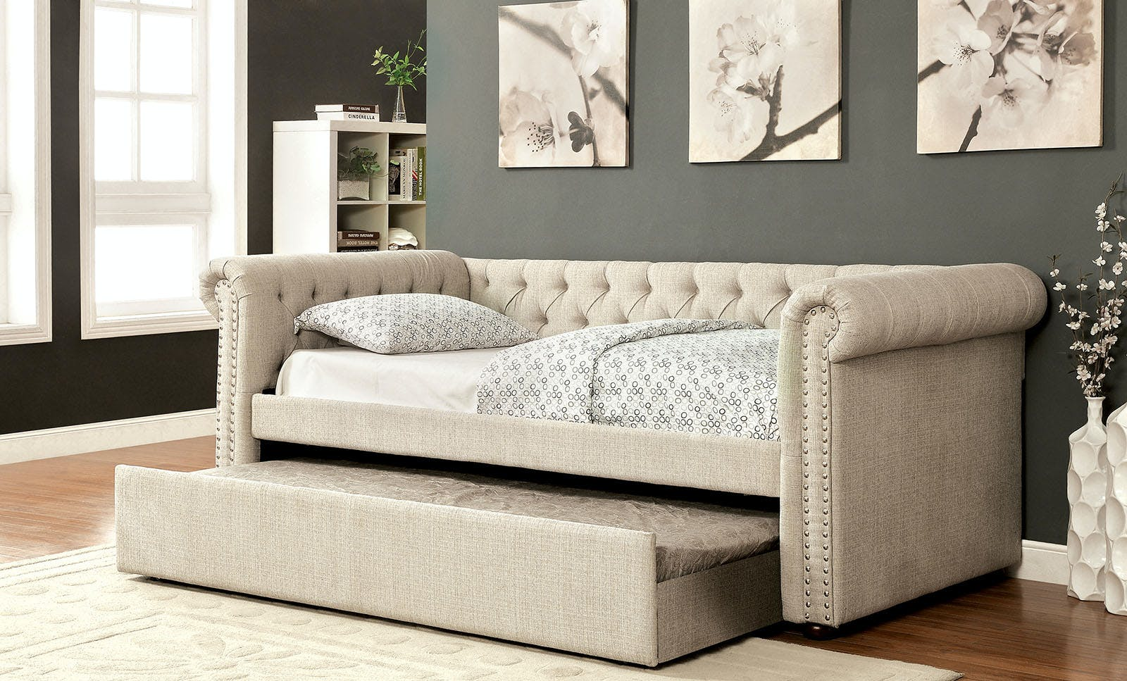 Furniture Of America Bedroom Full Daybed W Trundle Beige Cm1027bg F Bed The Furniture Mall
