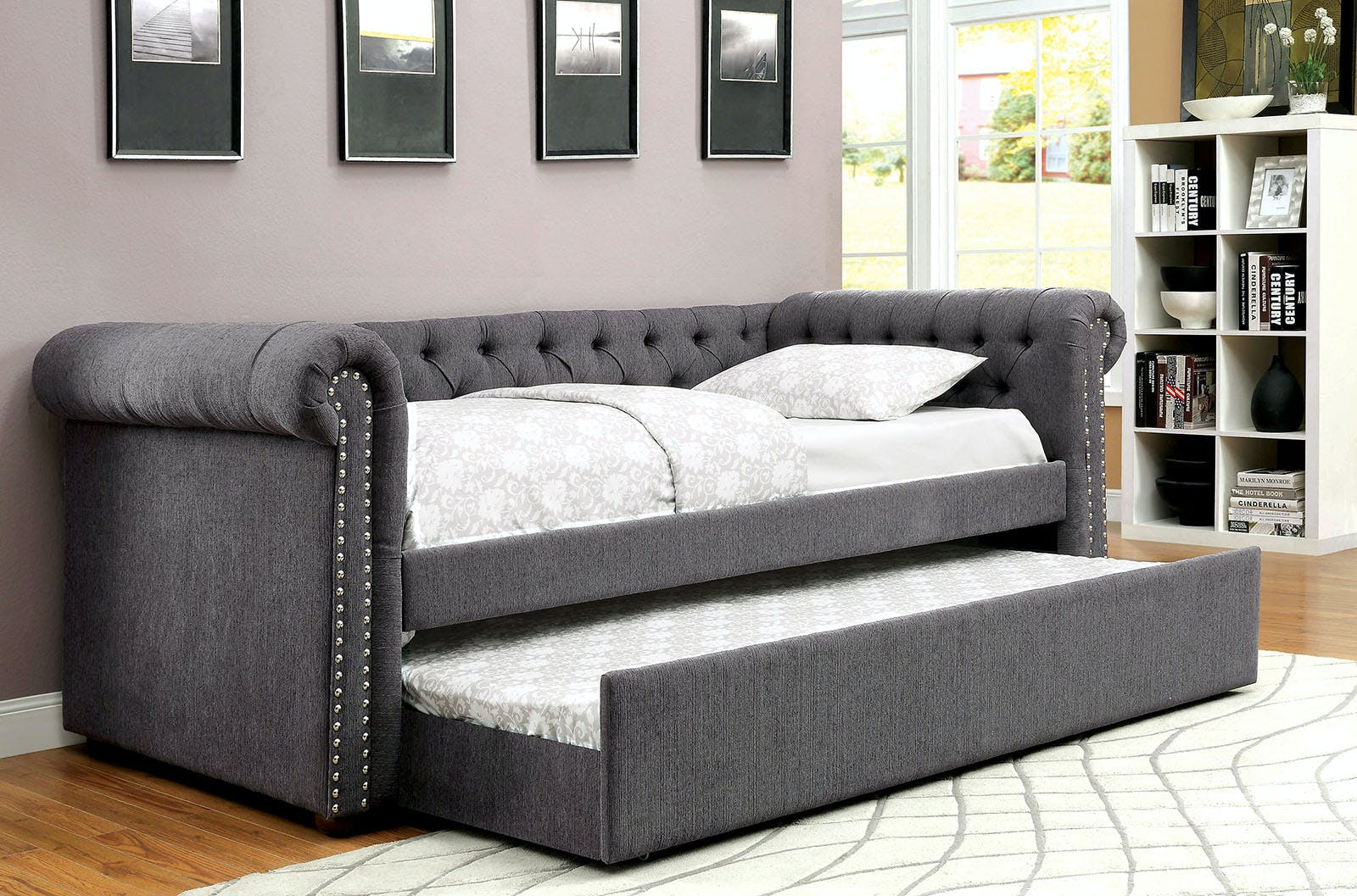 Furniture Of America Bedroom Full Daybed W Trundle Gray Cm1027gy F Bed The Furniture Mall