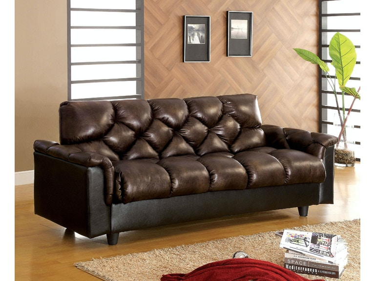 Leather-Like Futon Sofa w/ Storage