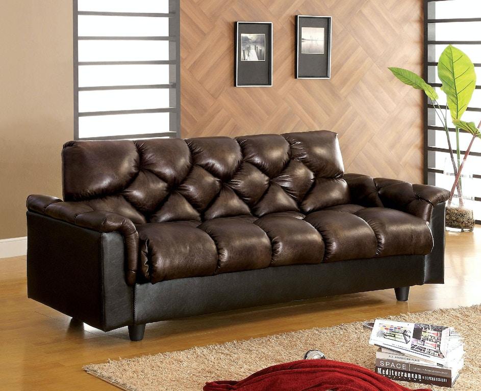 Leather-Like Futon Sofa w/ Storage