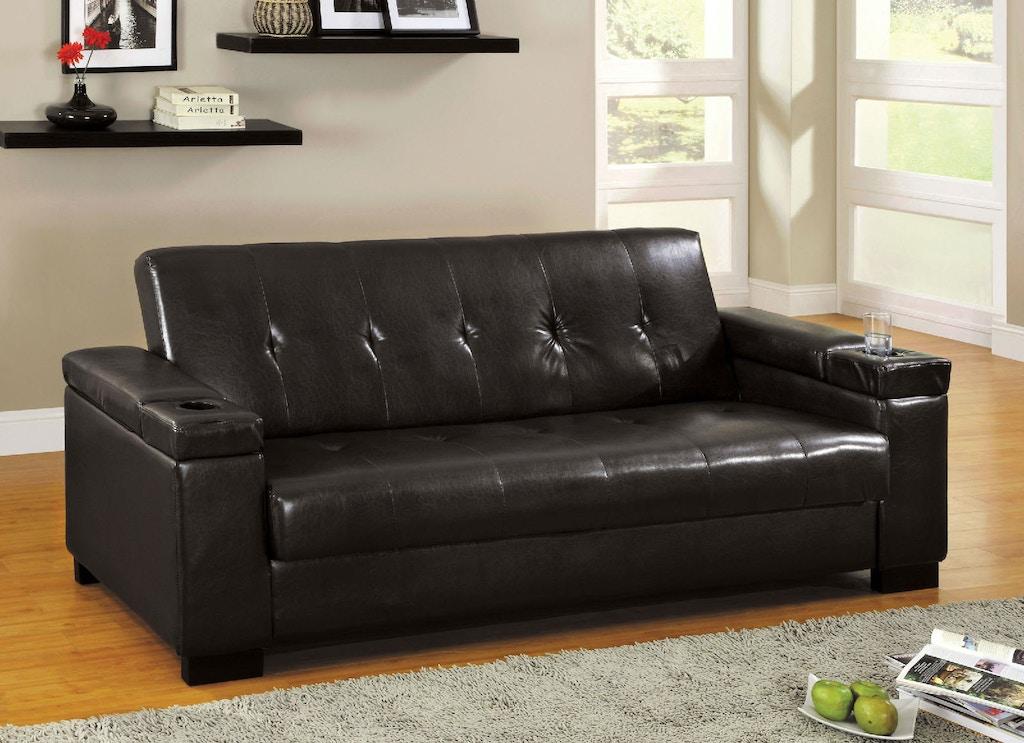Leatherette Futon Sofa W Storage