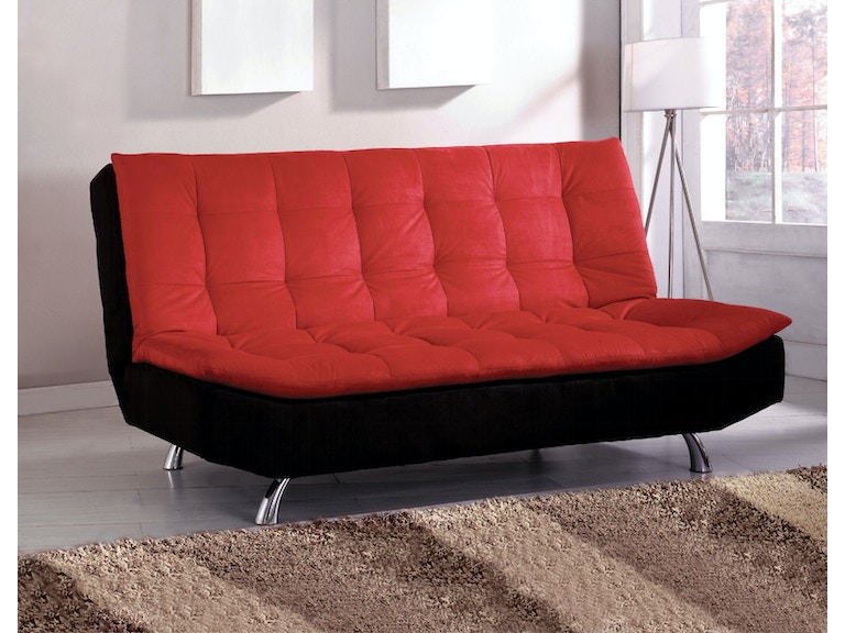 Furniture Of America Living Room Microfiber Futon Sofa Red Black