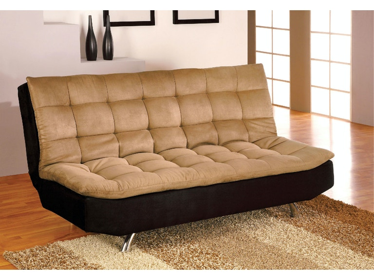 Furniture Of America Microfiber Futon Sofa Camel Black Cm2574m