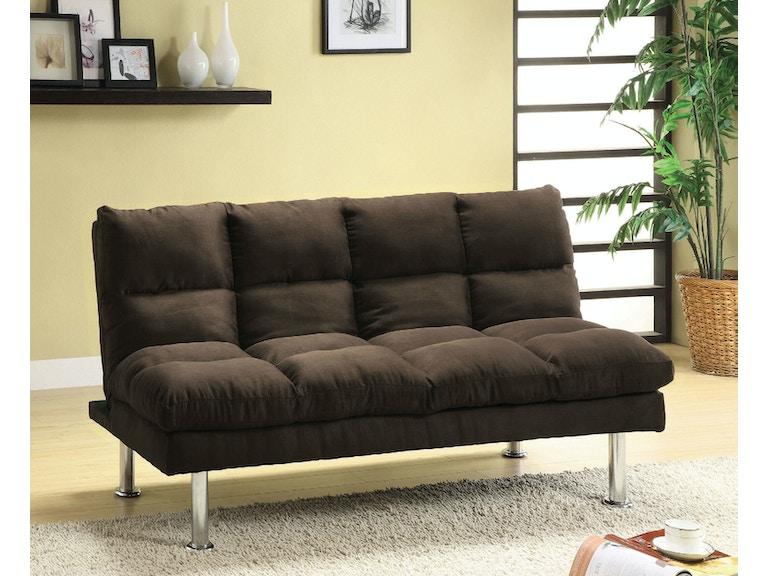 Furniture Of America Living Room Microfiber Futon Sofa Espresso Cm2902ex Ca At The Mall
