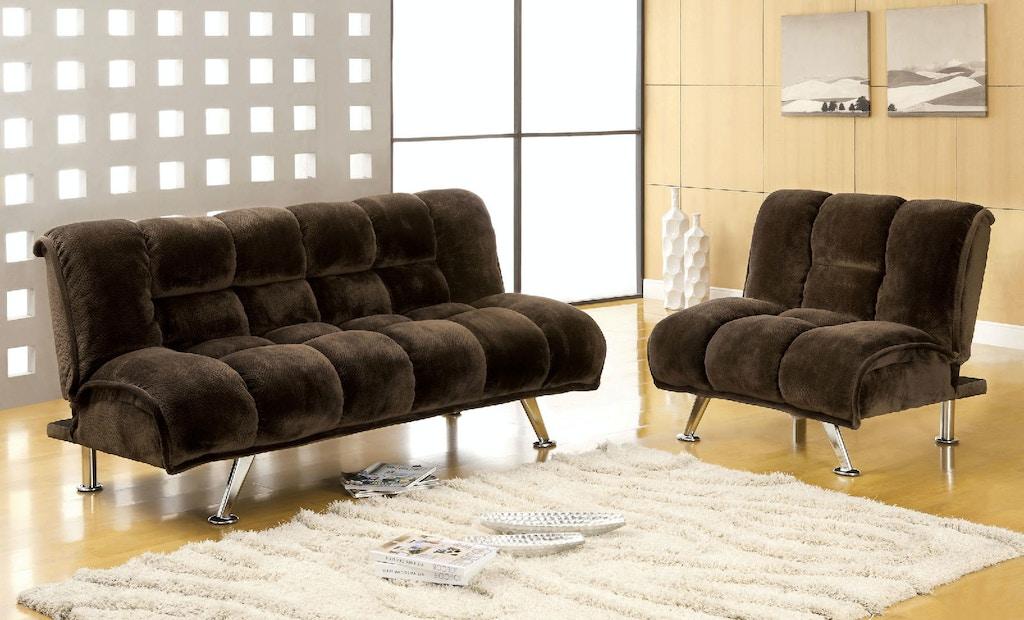 Champion Fabric Futon Sofa, Dark Brown