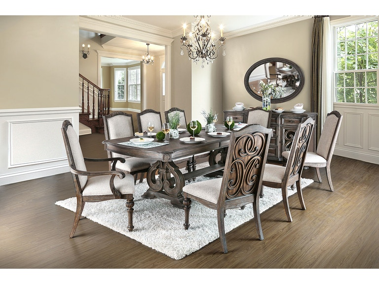 2062333ef8480c Furniture of America Dining Room Table + 2 Arm Chair + 6 Side Chairs  CM3150T-9PC at The Furniture Mall