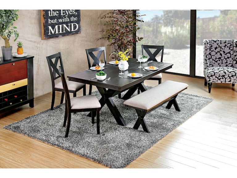 16df35834bbd8c Furniture of America Dining Room Table + 4 Side Chairs + Bench CM3172T-6PC  at The Furniture Mall