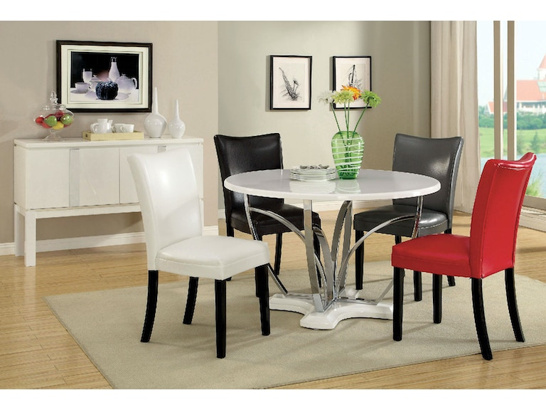 Table + 4 Chairs (Black, White, Gray Or Red)