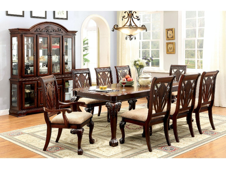 Furniture Of America Dining Room Table 2 Arm Chairs 4 Side Chars CM3185T 7PC At The Mall