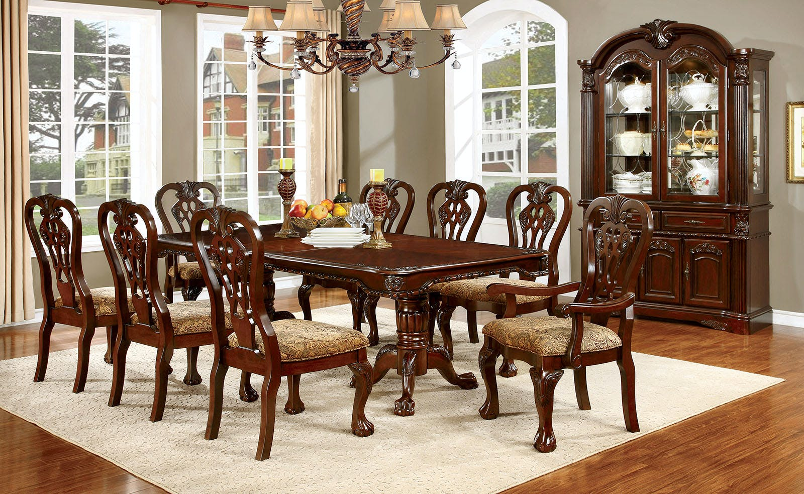 Furniture Of America Dining Room Hutch Buffet Cherry Cm3212hb Set The Furniture Mall Duluth