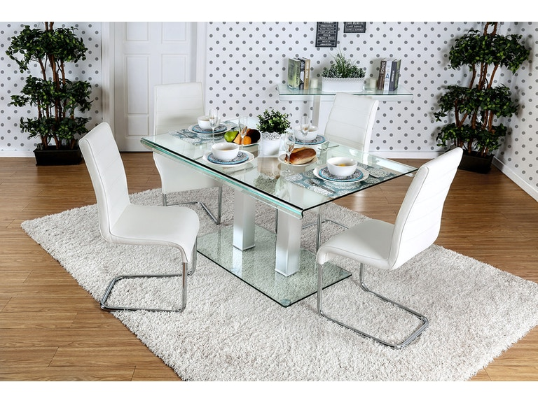 e688a02d5769dc Furniture of America Dining Room Table + 4 Side Chairs CM3362T-5PC-BK at The  Furniture Mall