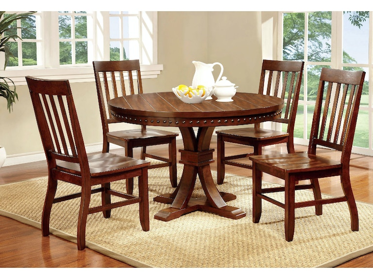 72ff917ba760eb Furniture of America Dining Room Table + 4 Side Chairs CM3437RT-5PC at The  Furniture Mall