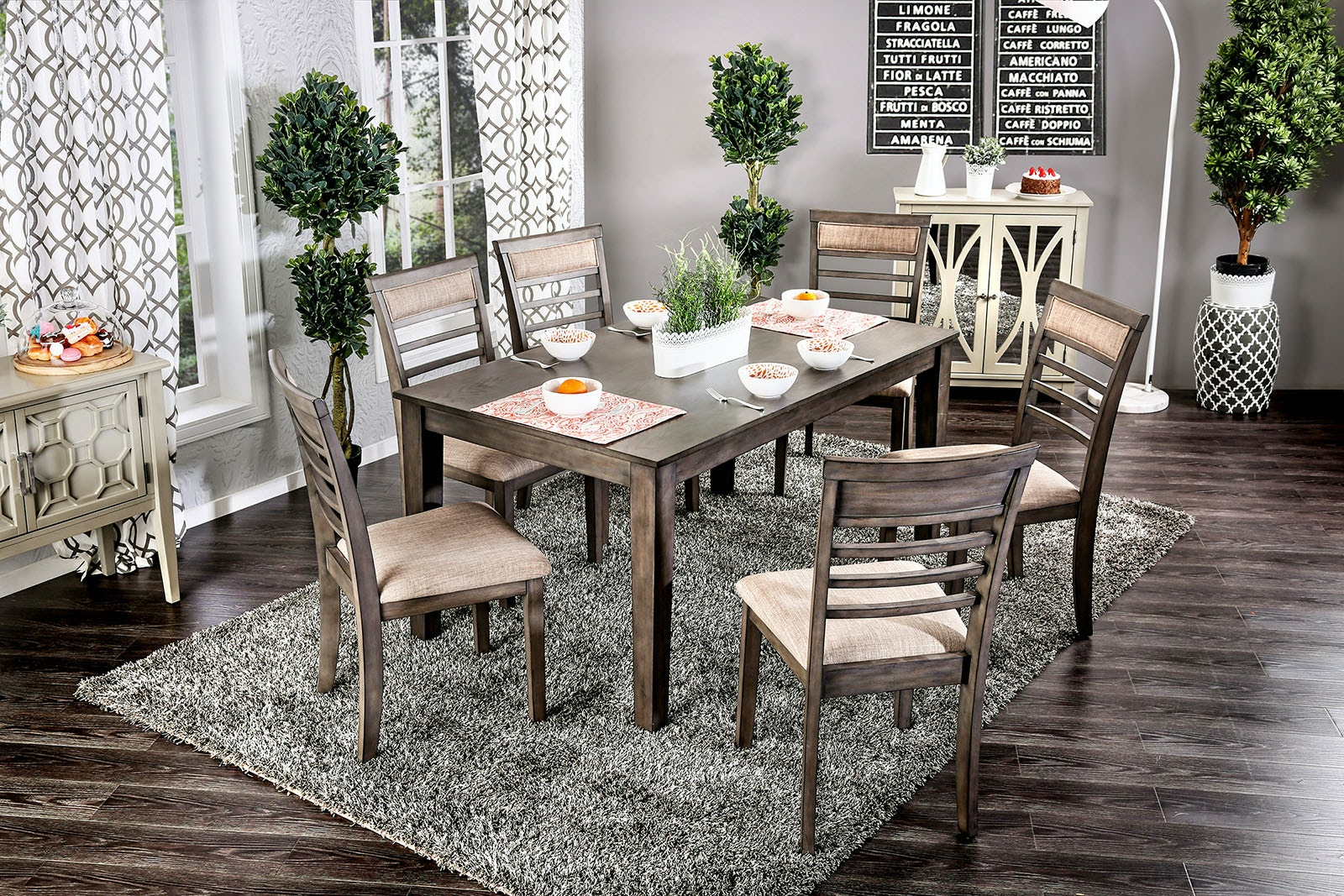 Furniture of America 7 Pc. Dining Table Set CM3607T-7PK & Furniture of America Dining Room 7 Pc. Dining Table Set CM3607T-7PK ...