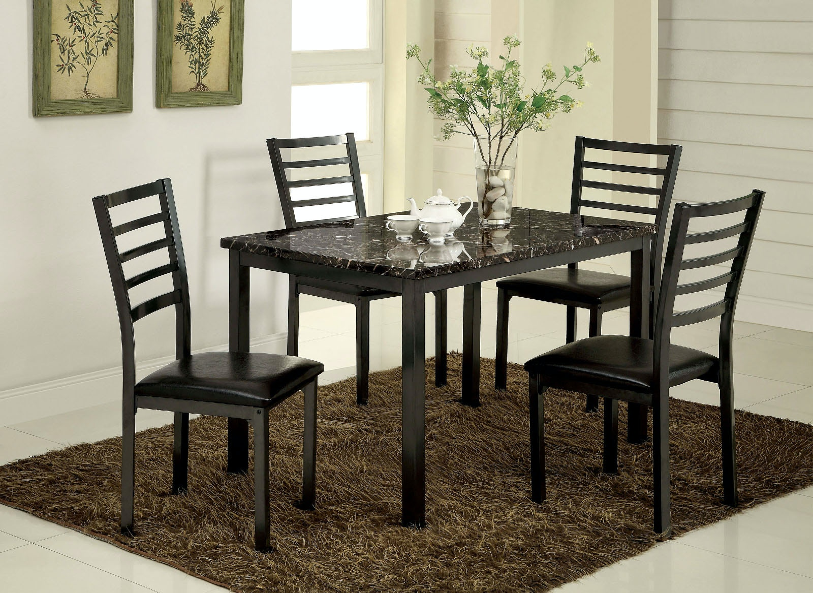 Furniture Of America Table + 4 Chairs CM3615T 48 5PC KD