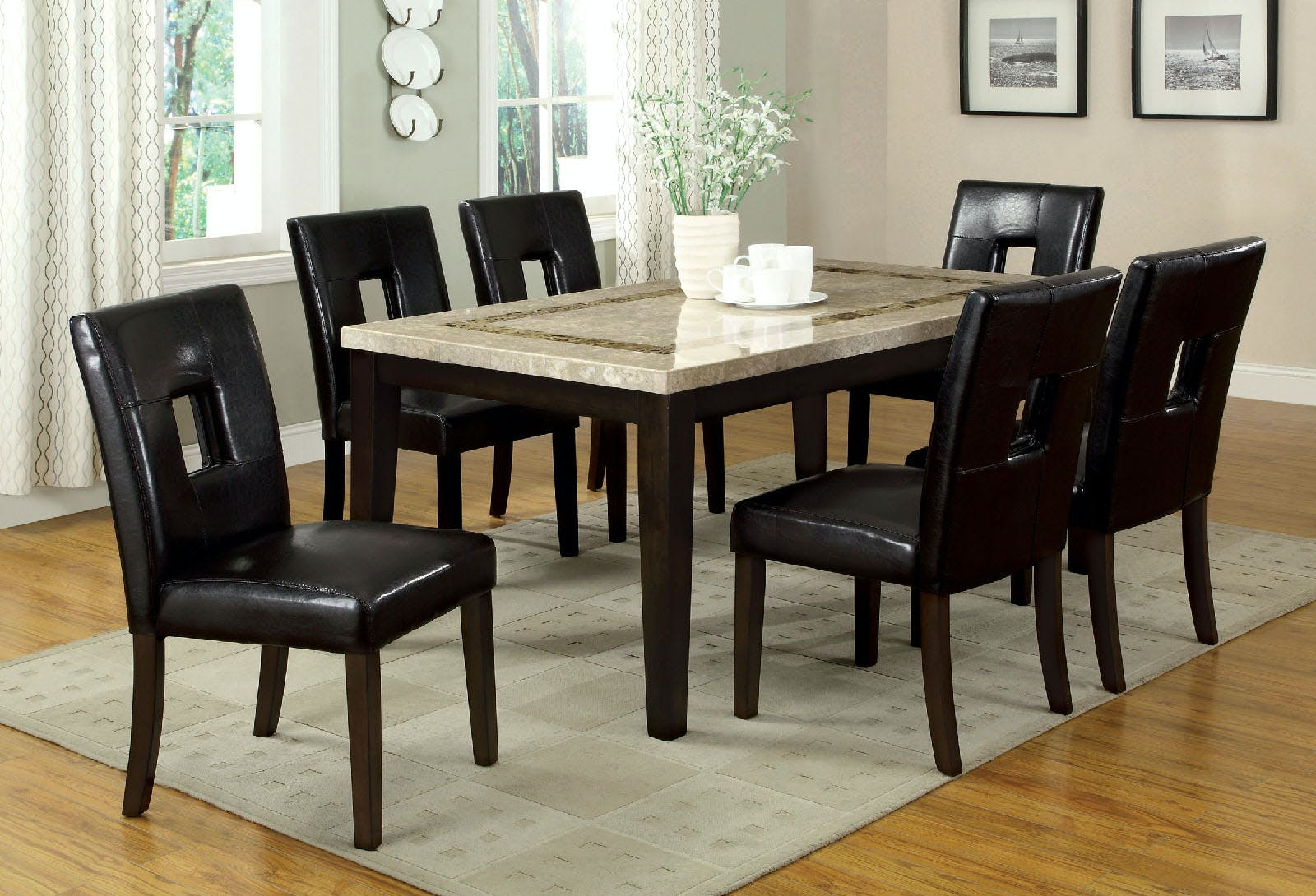 Picture of: Furniture Of America Dining Room Marble Top Rectangular Dining Table Cm3693t The Furniture Mall