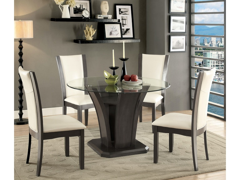 Furniture Of America Dining Room Round Table 4 Support Panels Cm3710gy Rt 2 At The