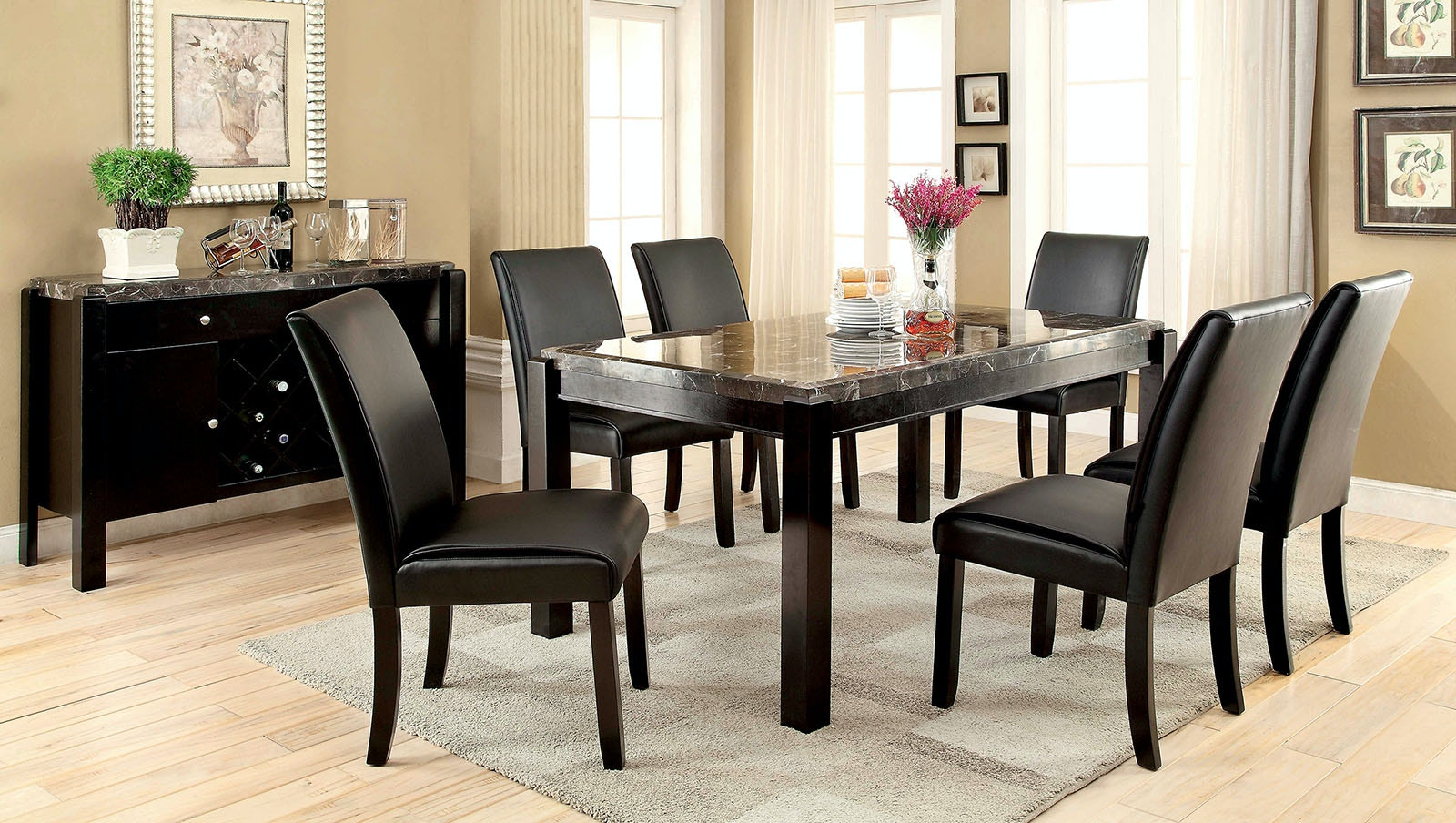 Furniture Of America Table + 8 Chairs CM3823BK PT 9PC