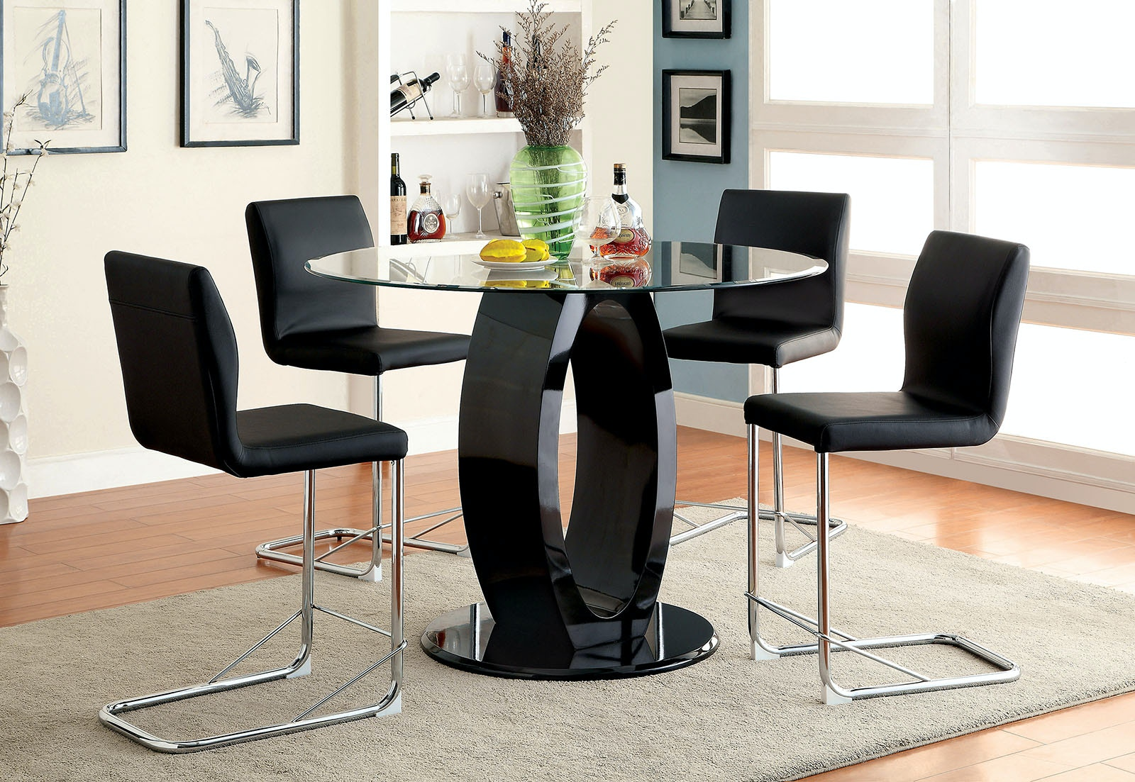 Furniture Of America Round Counter Height Table Glass Top, Base Board  CM3825BK RPT