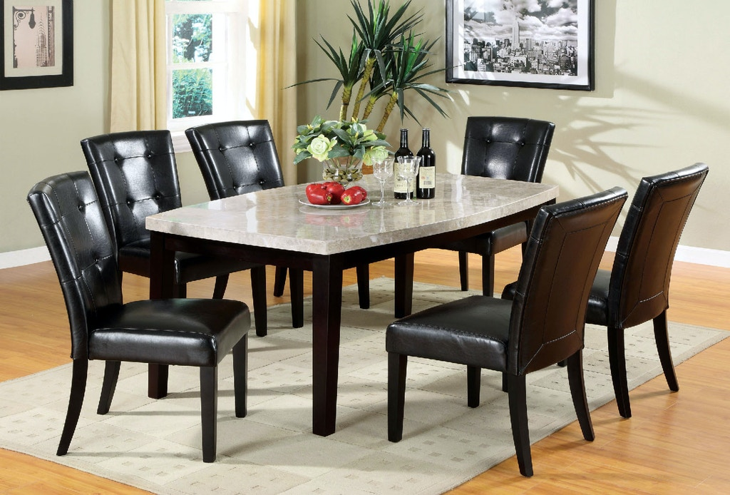 Furniture Of America Dining Room Marble Top Oval Edge Dining Table Cm3866t The Furniture Mall