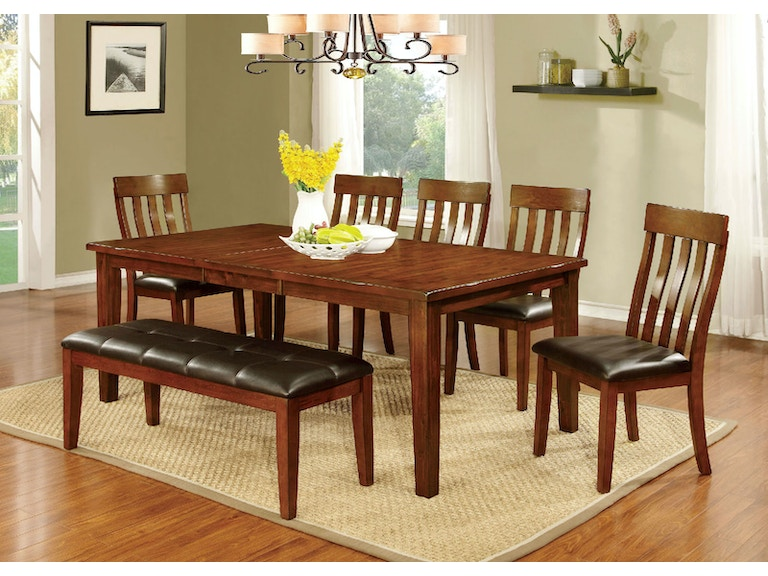 Furniture of America Dining Room Table + 4 Chairs + Bench CM3914T ...