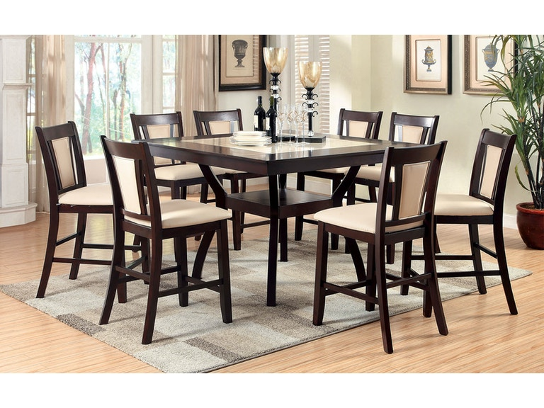 131d1c8a3a13ff Furniture of America Dining Room Table + 8 Side Chairs CM3984PT-9PC at The  Furniture Mall