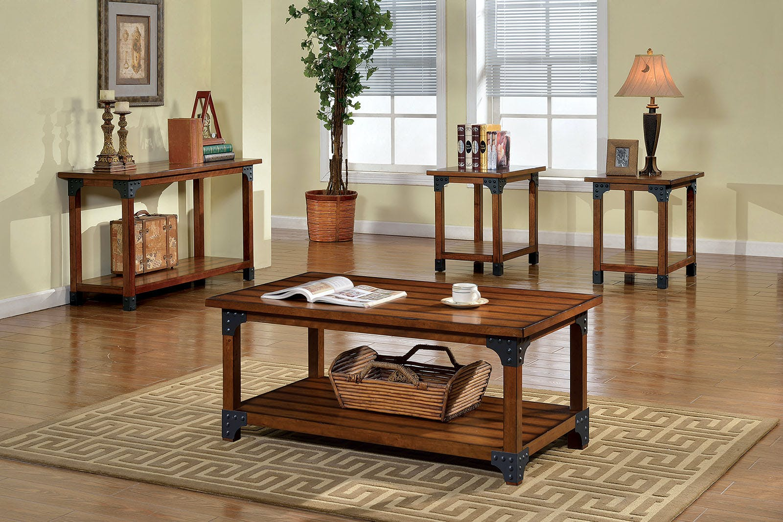 Picture of: Furniture Of America Living Room Sofa Table Antique Oak Cm4102s The Furniture Mall Duluth