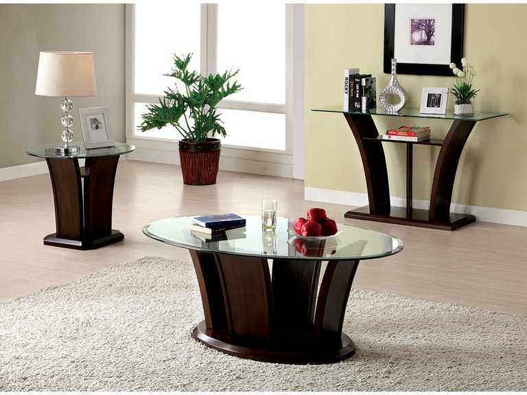 Furniture Of America Living Room Oval Glass Top Coffee Table Cm4104c