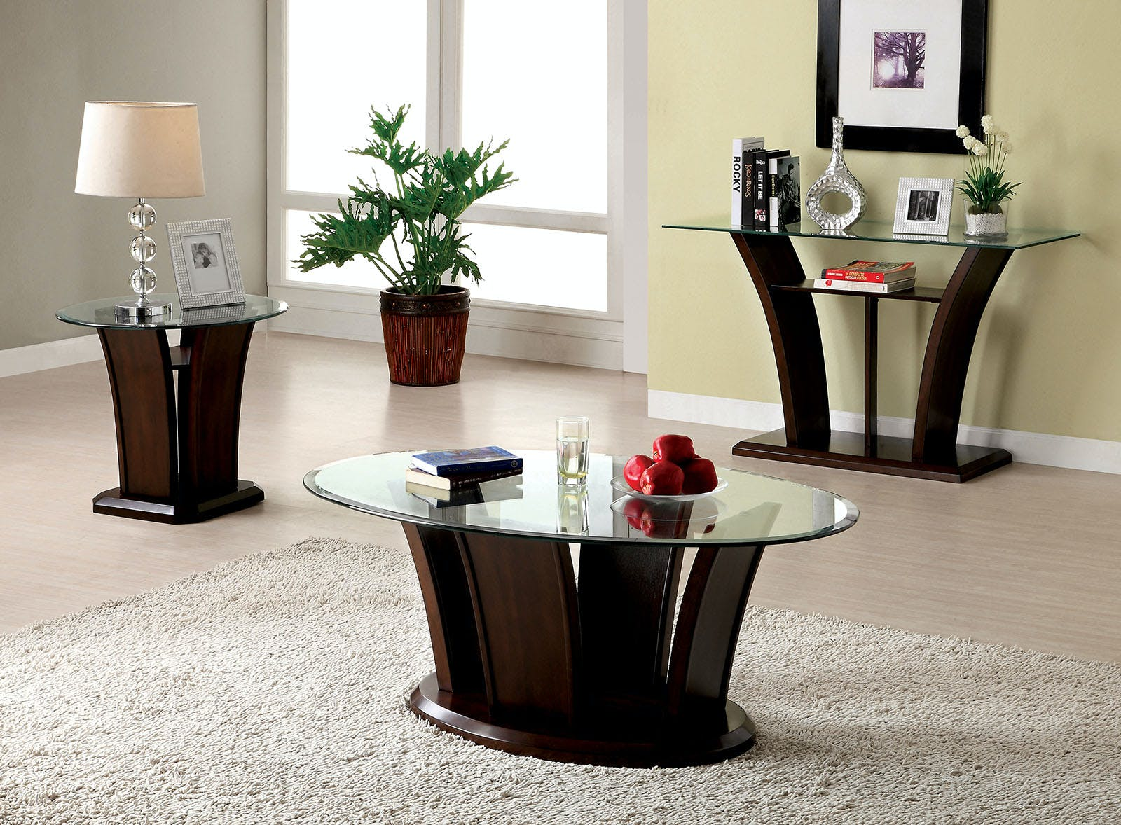 Picture of: Furniture Of America Living Room Oval Glass Top Coffee Table Cm4104c B The Furniture Mall