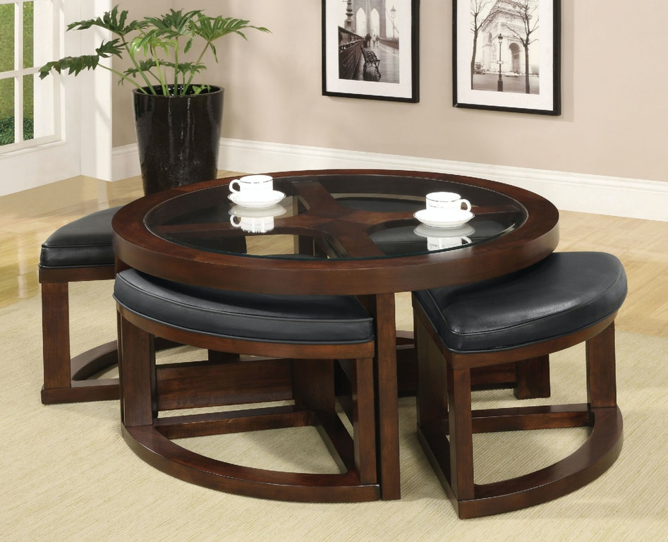 Furniture Of America Dining Room Round Coffee Table W 4 Stools Cm4321c The Furniture Mall